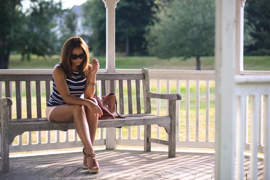 Striped top and light shorts, easy and simple summer fashion
